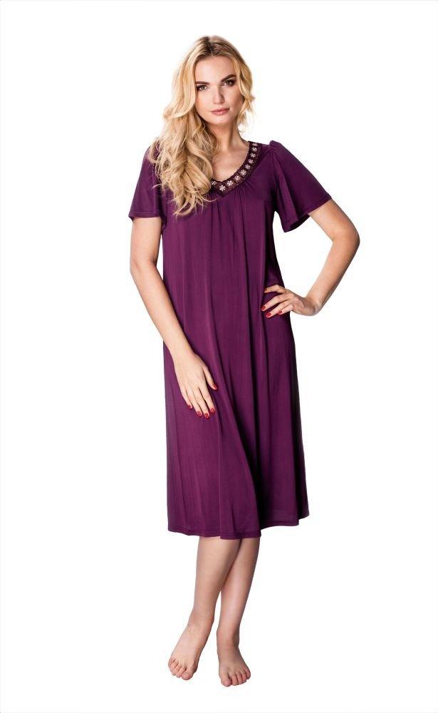 Fioletowa Koszula Nocna LILIA Plus Size Piżamy ✅ TONO  yYWCF
